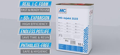 The single-component injection resin MC Injekt 2133 is a reliable product that requires no mixing or extensive preparation, enabling it to be used both easily and instantly.
