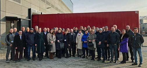 Group picture of the Ukrainian participants of the technical seminar in front of the new main building of MC-Bauchemie in Bottrop.