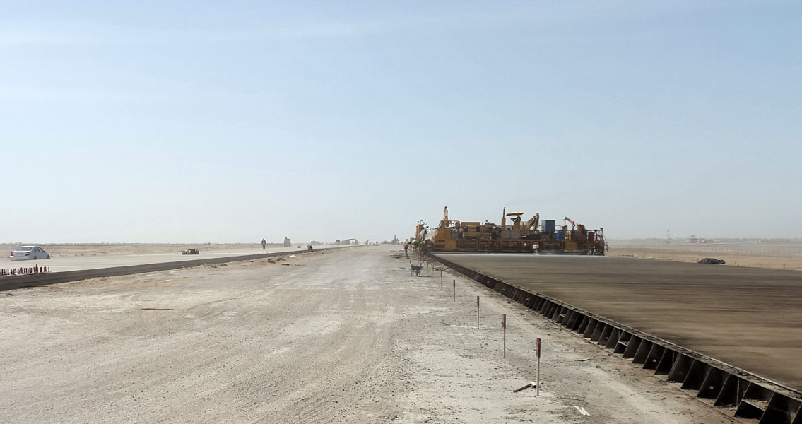 Construction – in extremely high temperatures – of the runway at Dashoguz Airport, Turkmenistan, for which MC Ukraine was selected to supply the requisite admixtures.