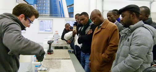 The African guests showed great interest in the product demonstration illustrating industrial floor coatings provided in the MC Events and Training Centre on Müllerstrasse in Bottrop.